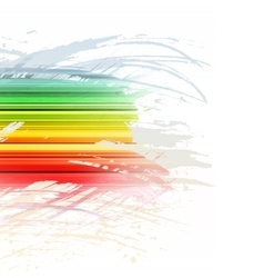 Grunge rainbow brush stroke with stripes on white vector