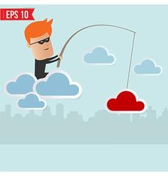 Hacker steal data on cloud computing vector