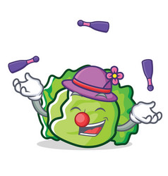 Juggling lettuce character mascot style vector