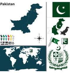 Pakistan map world vector image vector image