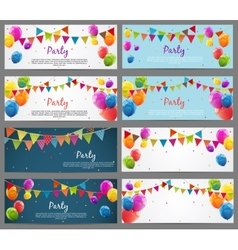 Party background baner set with flags and balloons vector