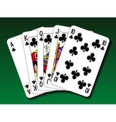 Poker hand - royal flush club vector