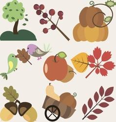 set of different autumn design elements vector image