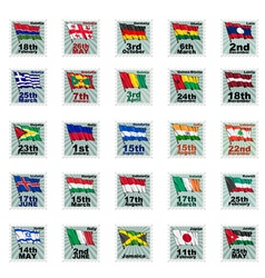 set of national stamps 03 vector image