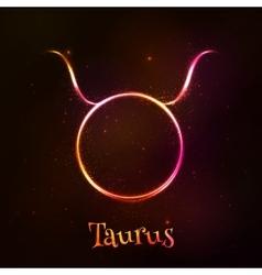 Shining neon zodiac taurus symbol vector