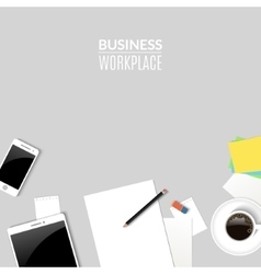 Top view desk work work place with tablet phone vector