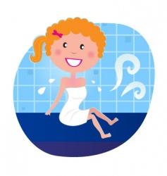 woman in sauna vector image vector image