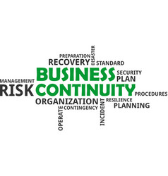 word cloud - business continuity vector image vector image