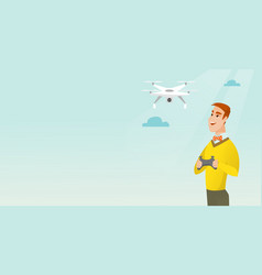 Young caucasian man flying drone vector