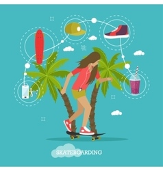 Young girl skateboarding next to palms vector image vector image