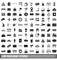 100 railway icons set simple style vector