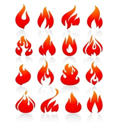 Fire flames red set icons vector