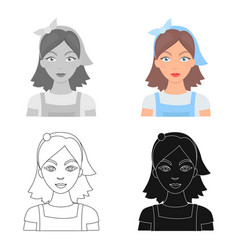 housekeeper icon in cartoon style isolated on vector image
