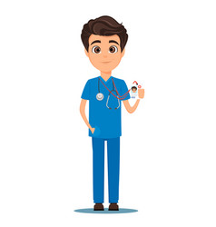 Medical doctor in blue uniform holding his badge vector