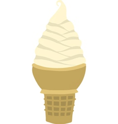 Vanilla soft serve ice cream cone vector