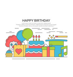 Flat happy birthday festive concept vector