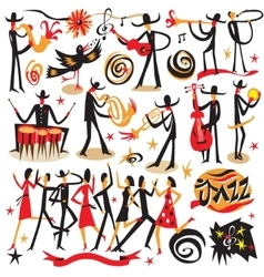 Jazz musicians - icons set vector