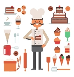 Confectioner man pies and tools concept vector