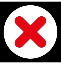 Cancel flat red and white colors round button vector