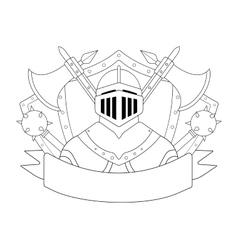 Medieval knight logo contour vector