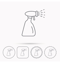 Cleaning spray bottle icon washing tool sign vector