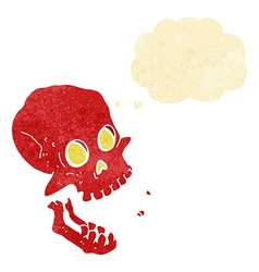 Cartoon laughing skull with thought bubble vector