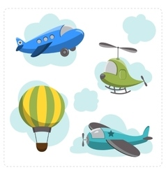 Set of cartoon aircraft vector