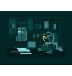 Burglar in the apartment vector