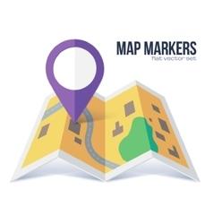 Flat violet marker symbol on yellow city vector