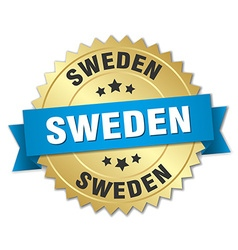 Sweden round golden badge with blue ribbon vector