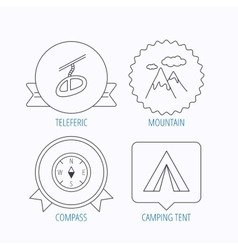 Mountain camping tent and teleferic icons vector