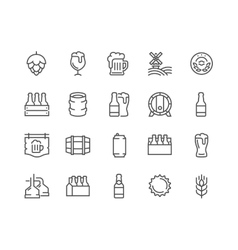 Line Beer Icons vector image