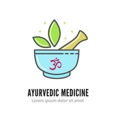Mortar and pestle alternetive ayurvedic medicine vector