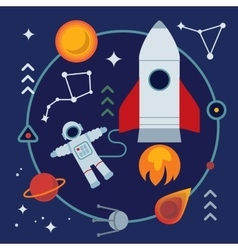 Astronomy flat with book rocket vector image