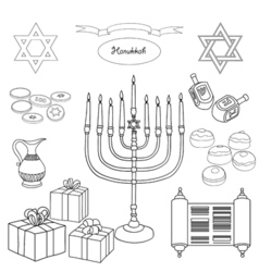 Black and white set of hanukkah objects vector