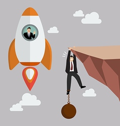 Businessman on a rocket fly pass businessman hold vector image vector image