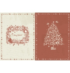 Christmas card retro for your design vector image