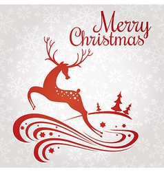 Christmas greeting card with deer vector