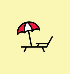 Deckchair with umbrella icon thin line color vector