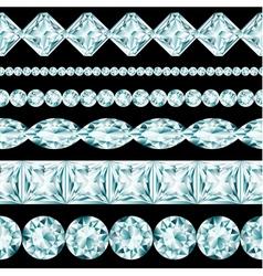Diamond borders set on black background vector