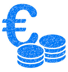Euro coin stacks grunge icon vector