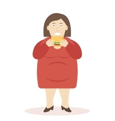 Fat woman eating burger vector