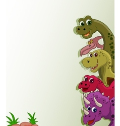 funny dinosaur cartoon collection vector image