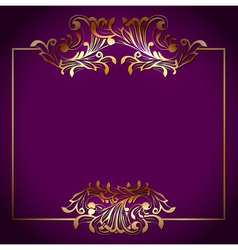 Golden Square Victorian Floral Frame vector image