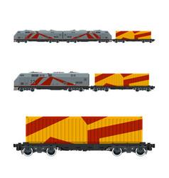 Gray locomotive with orange cargo container vector
