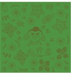 Green backgrounds flowers doodle art vector