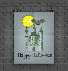 Halloween poster hanging on the wall vector