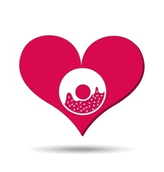 heart red cartoon donut icon design vector image vector image