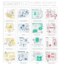 Infographics mini concept cyber security icons for vector