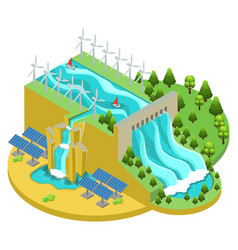 Isometric alternative energy sources concept vector